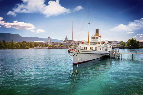 Lake Geneva Wall Art - Photograph - Geneva Switzerland Paddle Steamer Simplon  by Carol Japp