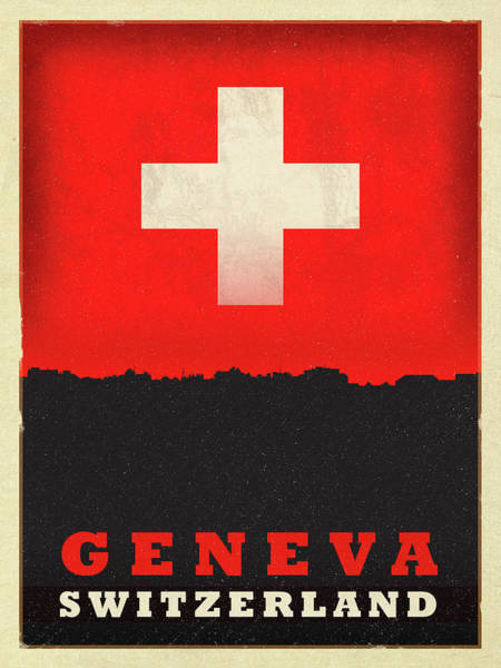 Wall Art - Mixed Media - Geneva Switzerland World City Flag Skyline by Design Turnpike