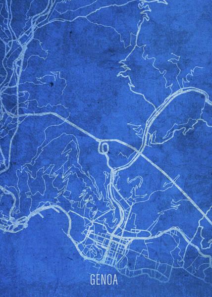 Wall Art - Mixed Media - Genoa Italy City Street Map Blueprints by Design Turnpike