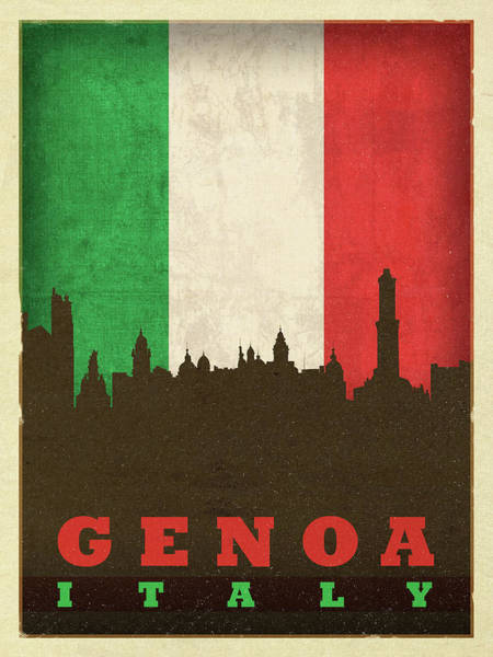 Wall Art - Mixed Media - Genoa Italy World City Flag Skyline by Design Turnpike
