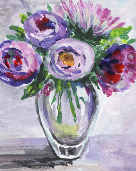 Painting - Gentle Purple Flowers Bouquet Floral Impressionism  by Irina Sztukowski