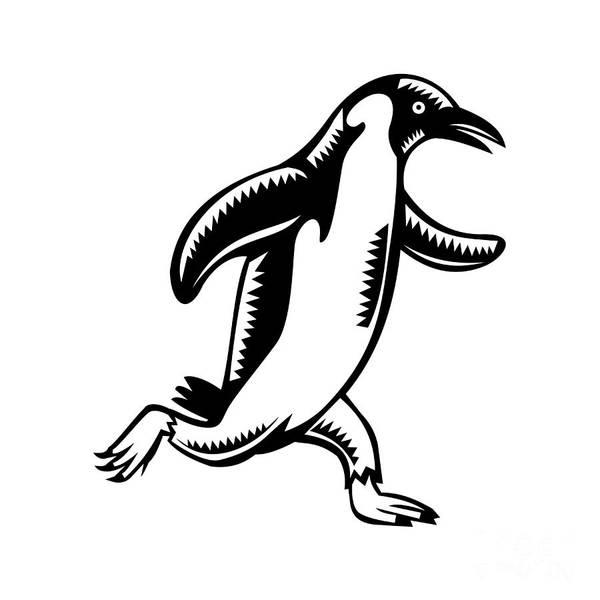 Wall Art - Digital Art - Gentoo Penguin Running Woodcut by Aloysius Patrimonio