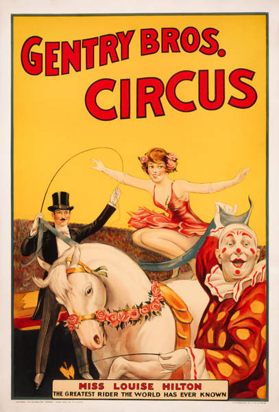 Circus Clown Painting - Gentry Brothers Circus Poster - Miss Louise Hilton - Vintage Ad by War Is Hell Store