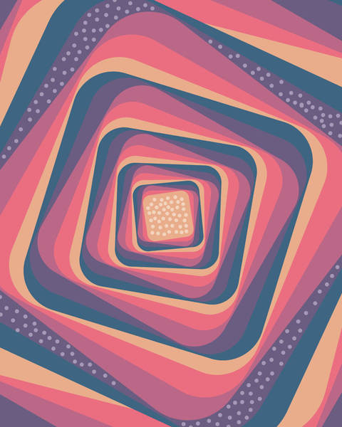 Wall Art - Mixed Media - Geometric Abstract Pattern - Retro Pattern - Spiral 2 - Deep Blue, Purple, Magenta, Red by Studio Grafiikka