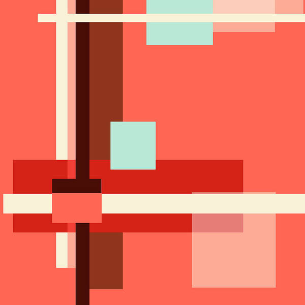 Photograph - Geometric Abstract With Living Coral Square by Jenny Rainbow