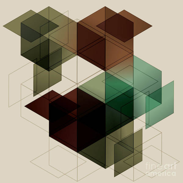 Block Digital Art - Geometric Cube Background. Eps10 With by Transfuchsian
