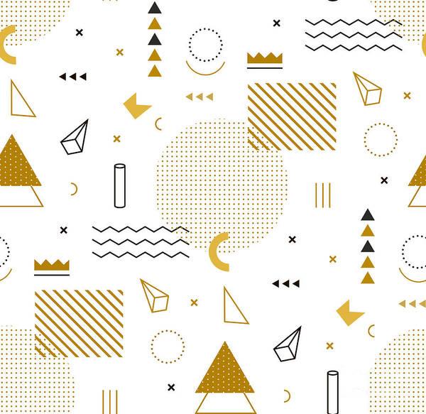 Memphis Design Wall Art - Digital Art - Geometric Gold Pattern For Fashion And by Fay Francevna