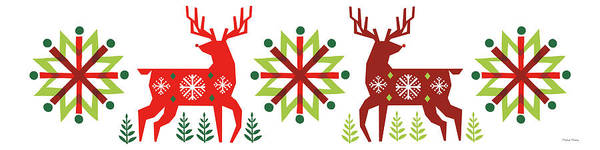 Wall Art - Painting - Geometric Holiday Reindeer IIi by Michael Mullan