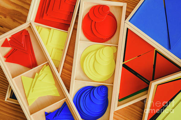 Photograph - Geometric Material In Montessori Classroom For The Learning Of C by Joaquin Corbalan