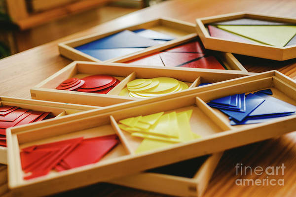 Geometric Material In Montessori Classroom For The Learning Of Children In Mathematics Area. Art Print