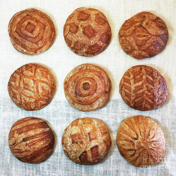 Photograph - Geometric Themed Sourdough Boules by Amy E Fraser