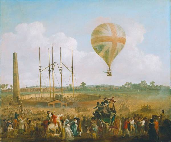 Wall Art - Painting - George Biggins' Ascent In Lunardi Balloon By Julius Caesar Ibbetson, 1785. by Julius Caesar Ibbetson