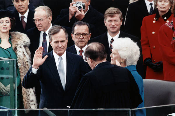 Republican Party Photograph - George Bush Sr. Taking Oath - 1989 by War Is Hell Store