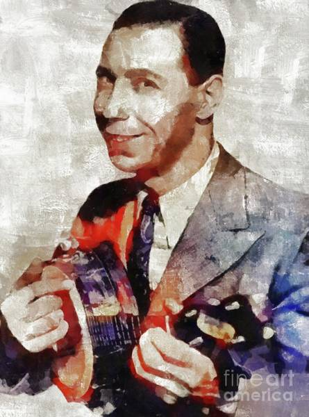 Wall Art - Painting - George Formby, Music Legend by Mary Bassett