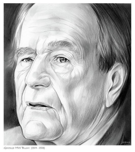 United States Drawing - George Hw Bush 1924 - 2018 by Greg Joens