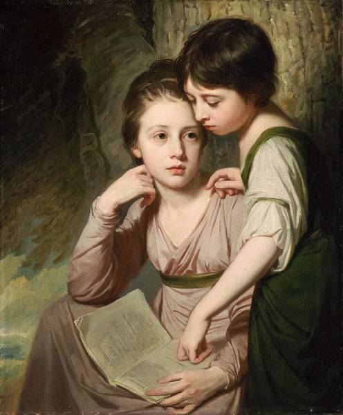 Wall Art - Painting - George Romney - Portrait Of Two Girls Misses Cumberland by George Romney