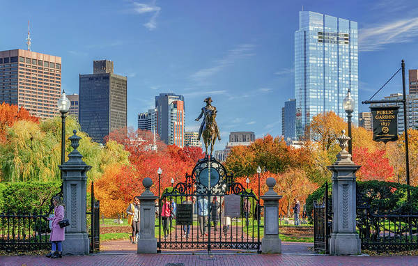 Photograph - George Washington And Boston's Public Garden In Autumn by Kristen Wilkinson