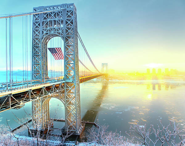 Usa Flag Photograph - George Washington Bridge by Tony Shi Photography