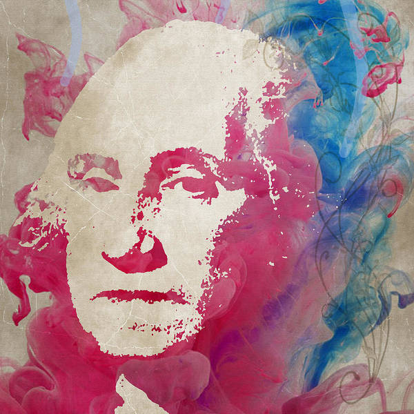 Wall Art - Painting - George Washington Watercolor Size 48x48 Huge Painting by Robert R Splashy Art Abstract Paintings