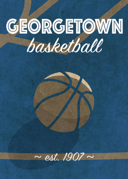 Wall Art - Mixed Media - Georgetown University Retro College Basketball Team Poster by Design Turnpike