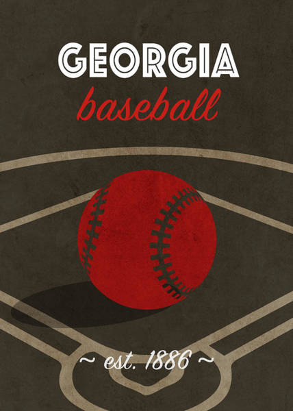 Wall Art - Mixed Media - Georgia Baseball College Sports Team Retro Vintage Poster Series by Design Turnpike