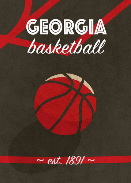 Wall Art - Mixed Media - Georgia University Retro College Basketball Team Poster by Design Turnpike
