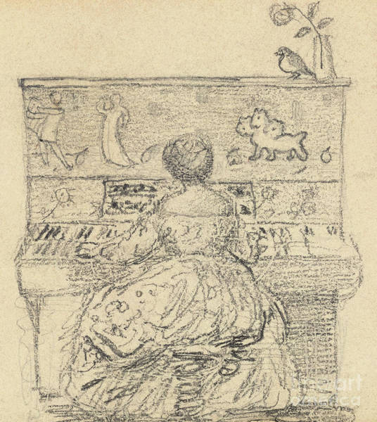 Wall Art - Drawing - Georgiana Burne Jones At The Piano by Edward Coley Burne-Jones