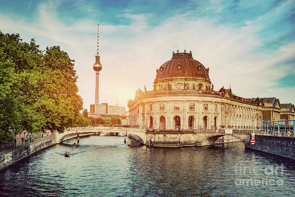 Photograph - German Bode Museum And River Spree At Sunset. by Michal Bednarek