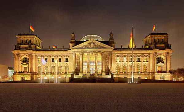 Norman Photograph - German Reichstag In Berlin At Night by Michaelutech