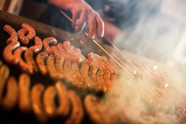 Raw Meat Photograph - German Sausages On The Grill by Pgiam