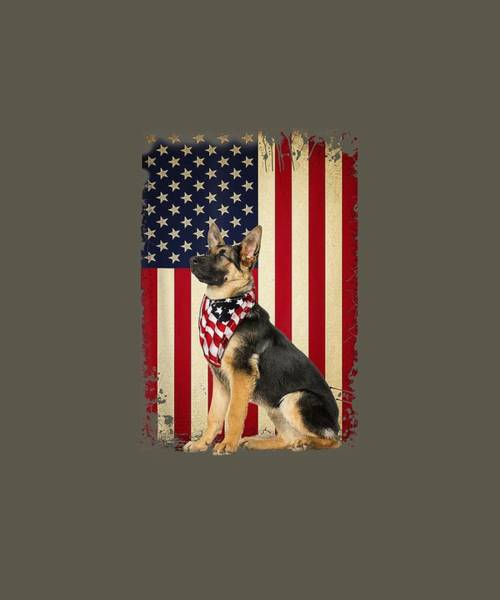 Wall Art - Digital Art - German Shepherd American Flag Shirt Independence 4th Of July by Unique Tees