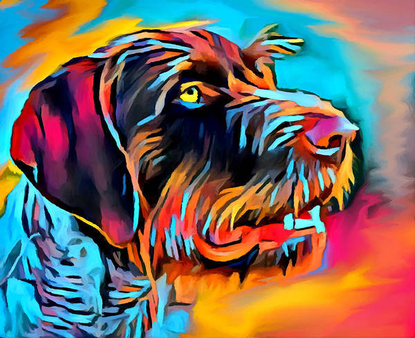 Wall Art - Painting - German Wirehaired Pointer 2 by Chris Butler