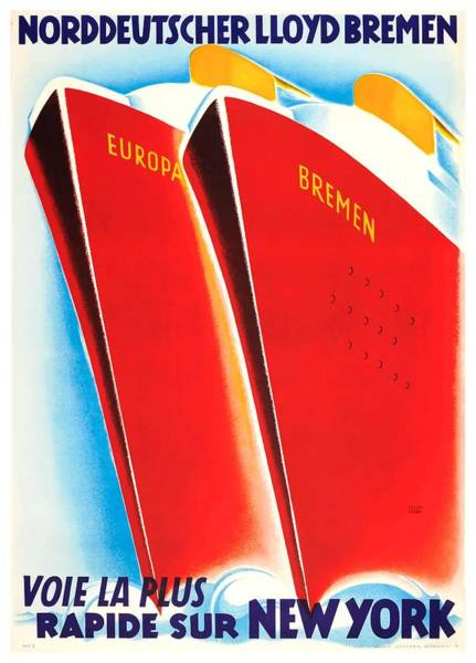Wall Art - Digital Art - Germany 1930's Art Deco Cruise Ship Travel Poster  by Retro Graphics