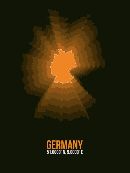 Wall Art - Digital Art - Germany Radiant Map I by Naxart Studio