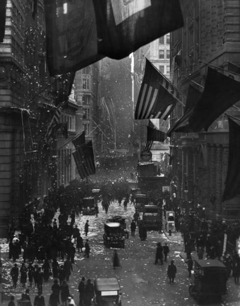 Wall Art - Photograph - Germany Surrenders Parade - Wall Street - Ww1 - 1918 by War Is Hell Store