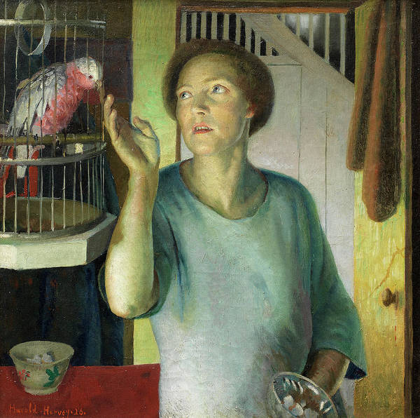 Newlyn Painting - Gertrude Harvey With Parrot In The Artist's Home by Harold Harvey