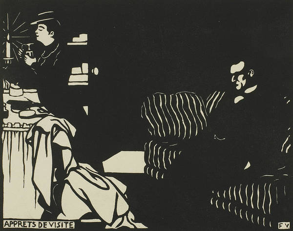 Wall Art - Relief - Getting Ready For A Visit, Plate Eight From Intimacies by Felix Edouard Vallotton