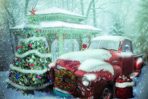 Digital Art - Getting Ready For Christmas On A Misty Morning by Debra and Dave Vanderlaan