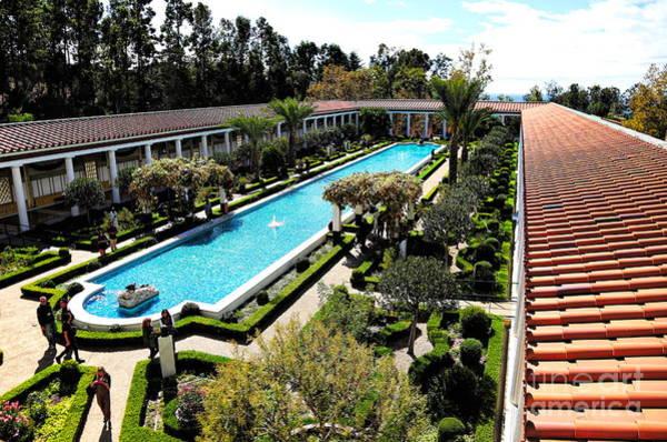 J Paul Getty Photograph - Getty Pano Courtyard Museum Villa Malibu Santa Monica  by Chuck Kuhn