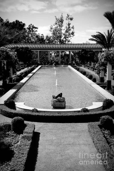 J Paul Getty Photograph - Getty Villa Massive Pool Black White Landscape  by Chuck Kuhn