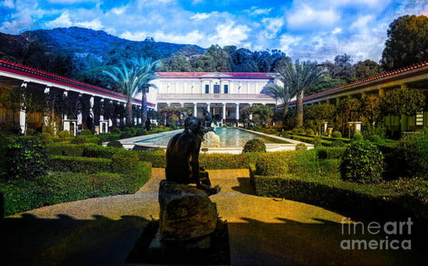 Wall Art - Photograph - Getty Villa Wide Exterior View  by Chuck Kuhn