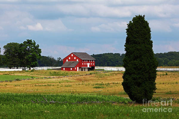 Photograph - Red Barn On Sherfy Farm Gettysburg by James Brunker