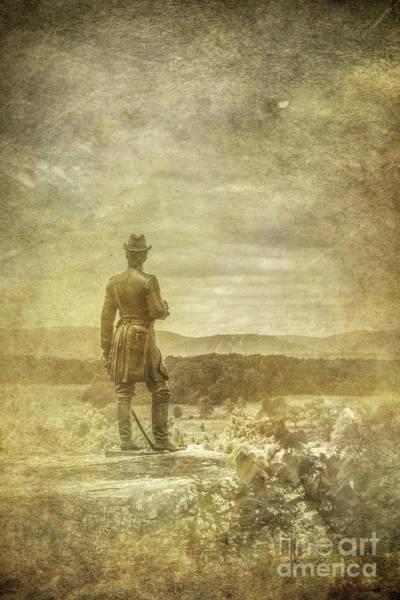 Wall Art - Digital Art - Gettysburg Warren Statue Little Round Top Two by Randy Steele