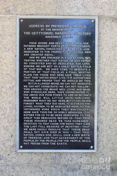 Wall Art - Photograph - Gettysburgh Address by Barbra Telfer