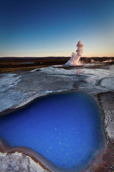 Sulphur Photograph - Geysir Erupts by Morten Falch Sortland