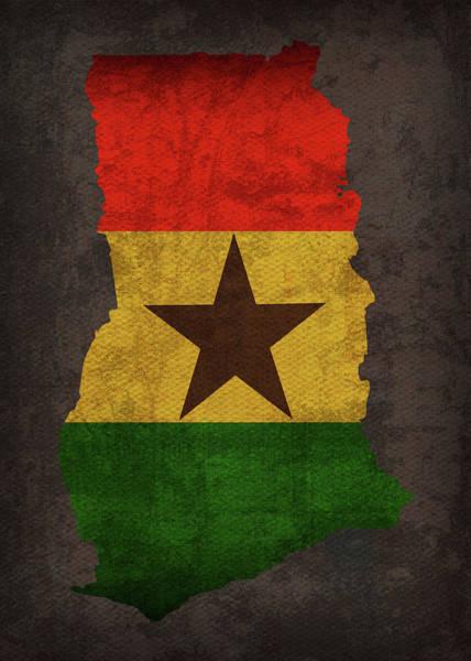 Ghana Wall Art - Mixed Media - Ghana Country Flag Map by Design Turnpike