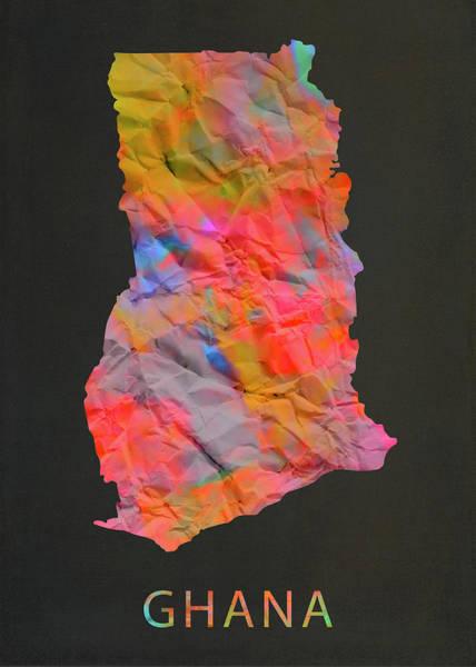 Ghana Wall Art - Mixed Media - Ghana Tie Dye Country Map by Design Turnpike