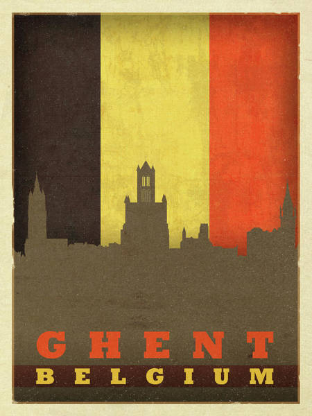 Belgium Mixed Media - Ghent Belgium World City Flag Skyline by Design Turnpike