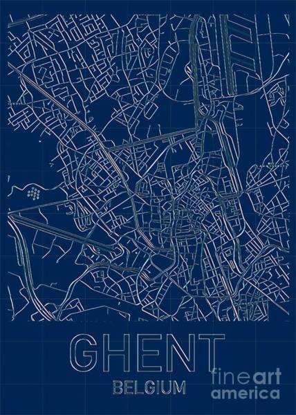 Digital Art - Ghent Blueprint City Map by Helge