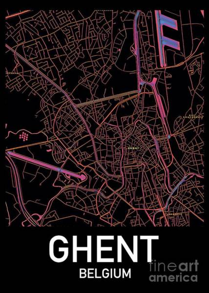 Digital Art - Ghent City Map by Helge